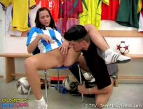 Soccer fan fucks in locker room