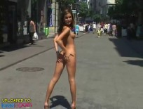 Tight Brunette Shows All in Public
