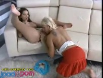 Eve Angel Two sexy fuckdolls play on the sofa