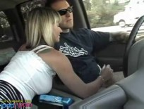 German  blonde wife oiled car handjob