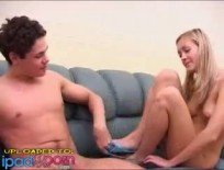 German college couple filmed on their couch