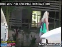 Blond amateurs tits exposed in public