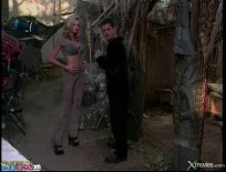 Briana Banks gives a sloppy blowjob outdoors