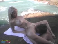 Amazing Blonde Banged Beach-Side