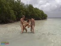 Double penetration on the beach