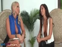 Brunette And Blonde Enjoy Lesbian Kiss