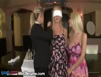 Blonde In Waitress Uniform Gets Two Other Bitchs