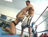 Busty blonde banged in the boxing ring