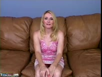 Hot blonde chick nailed hard on the couch