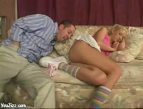 Blond babysitter is fucked hard by her boss