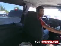 Blonde slut picks up random guy to fuck in the van