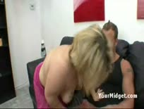 Horny blonde midget is in the mood to suck off full size cock
