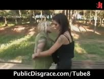Crazy bondage scene in the park - Hardcore sex video