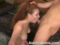 Curly haired bitch blows cock and gets her ass fucked - Anal sex video