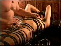 CBT Electro session young dude restrained in leather an,ipad,tube,free,