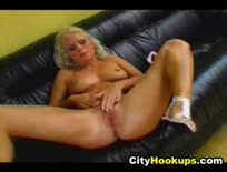 Sexy Blonde Hottie Pleasures Herself And Masturbates