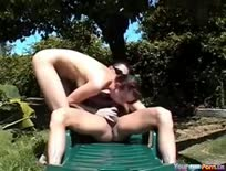 Riding Her BF In The Garden