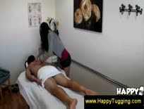 Asian gets excited while jerking a dick