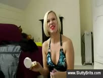 Slutty british blonde shows her pussy